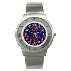 Texture Batik Fabric Stainless Steel Watch by BangZart