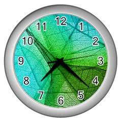 Sunlight Filtering Through Transparent Leaves Green Blue Wall Clocks (silver)  by BangZart