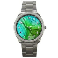 Sunlight Filtering Through Transparent Leaves Green Blue Sport Metal Watch by BangZart