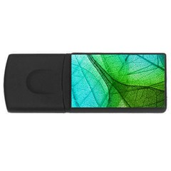 Sunlight Filtering Through Transparent Leaves Green Blue Rectangular Usb Flash Drive by BangZart