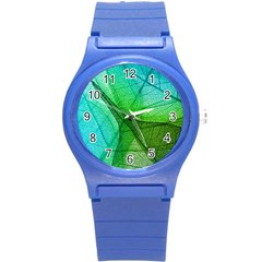 Sunlight Filtering Through Transparent Leaves Green Blue Round Plastic Sport Watch (s) by BangZart