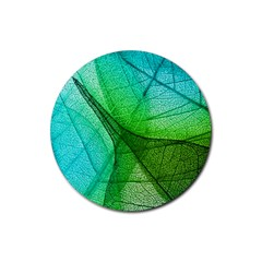 Sunlight Filtering Through Transparent Leaves Green Blue Rubber Round Coaster (4 Pack)  by BangZart