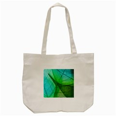 Sunlight Filtering Through Transparent Leaves Green Blue Tote Bag (cream) by BangZart