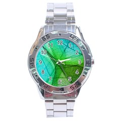 Sunlight Filtering Through Transparent Leaves Green Blue Stainless Steel Analogue Watch by BangZart