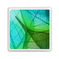 Sunlight Filtering Through Transparent Leaves Green Blue Memory Card Reader (square)  by BangZart