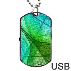 Sunlight Filtering Through Transparent Leaves Green Blue Dog Tag Usb Flash (one Side) by BangZart