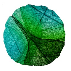 Sunlight Filtering Through Transparent Leaves Green Blue Large 18  Premium Round Cushions by BangZart