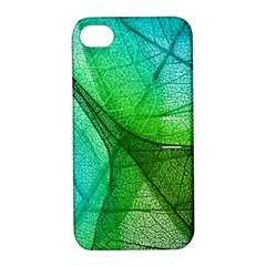 Sunlight Filtering Through Transparent Leaves Green Blue Apple Iphone 4/4s Hardshell Case With Stand by BangZart