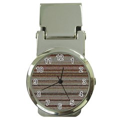 Stripy Knitted Wool Fabric Texture Money Clip Watches by BangZart