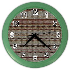 Stripy Knitted Wool Fabric Texture Color Wall Clocks by BangZart