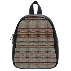 Stripy Knitted Wool Fabric Texture School Bags (small)  by BangZart
