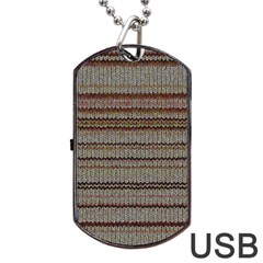 Stripy Knitted Wool Fabric Texture Dog Tag Usb Flash (one Side) by BangZart