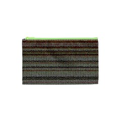 Stripy Knitted Wool Fabric Texture Cosmetic Bag (xs) by BangZart