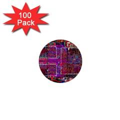Technology Circuit Board Layout Pattern 1  Mini Buttons (100 Pack)  by BangZart