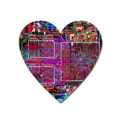 Technology Circuit Board Layout Pattern Heart Magnet by BangZart