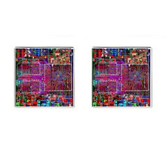 Technology Circuit Board Layout Pattern Cufflinks (square) by BangZart