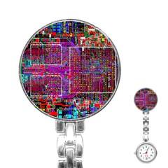 Technology Circuit Board Layout Pattern Stainless Steel Nurses Watch by BangZart