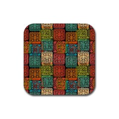 Stract Decorative Ethnic Seamless Pattern Aztec Ornament Tribal Art Lace Folk Geometric Background C Rubber Square Coaster (4 Pack)  by BangZart