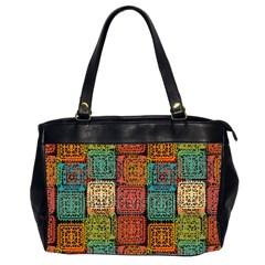Stract Decorative Ethnic Seamless Pattern Aztec Ornament Tribal Art Lace Folk Geometric Background C Office Handbags (2 Sides)  by BangZart