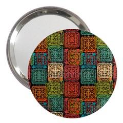 Stract Decorative Ethnic Seamless Pattern Aztec Ornament Tribal Art Lace Folk Geometric Background C 3  Handbag Mirrors by BangZart
