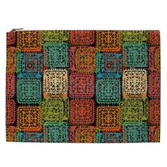 Stract Decorative Ethnic Seamless Pattern Aztec Ornament Tribal Art Lace Folk Geometric Background C Cosmetic Bag (xxl)  by BangZart