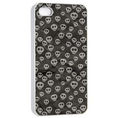 Skull Halloween Background Texture Apple Iphone 4/4s Seamless Case (white) by BangZart