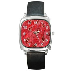 Red Peacock Floral Embroidered Long Qipao Traditional Chinese Cheongsam Mandarin Square Metal Watch by BangZart