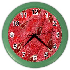 Red Peacock Floral Embroidered Long Qipao Traditional Chinese Cheongsam Mandarin Color Wall Clocks by BangZart
