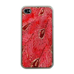 Red Peacock Floral Embroidered Long Qipao Traditional Chinese Cheongsam Mandarin Apple Iphone 4 Case (clear) by BangZart