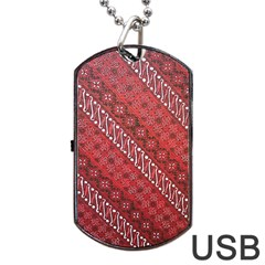 Red Batik Background Vector Dog Tag Usb Flash (one Side) by BangZart