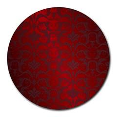 Red Dark Vintage Pattern Round Mousepads by BangZart