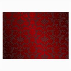Red Dark Vintage Pattern Large Glasses Cloth (2 Side) by BangZart