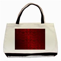 Red Dark Vintage Pattern Basic Tote Bag (two Sides) by BangZart