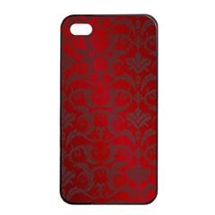 Red Dark Vintage Pattern Apple Iphone 4/4s Seamless Case (black) by BangZart