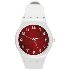 Red Dark Vintage Pattern Round Plastic Sport Watch (m) by BangZart