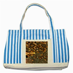 Queen Cup Honeycomb Honey Bee Striped Blue Tote Bag by BangZart