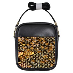 Queen Cup Honeycomb Honey Bee Girls Sling Bags by BangZart
