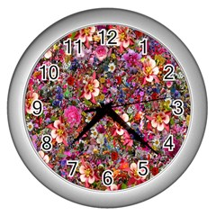 Psychedelic Flower Wall Clocks (silver)  by BangZart