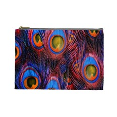 Pretty Peacock Feather Cosmetic Bag (large)  by BangZart