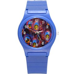 Pretty Peacock Feather Round Plastic Sport Watch (s) by BangZart