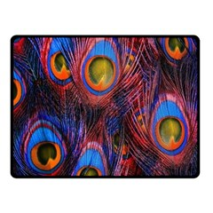 Pretty Peacock Feather Double Sided Fleece Blanket (small)  by BangZart