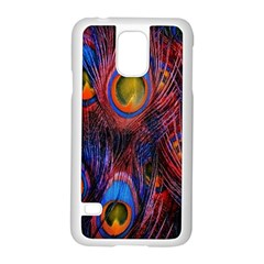 Pretty Peacock Feather Samsung Galaxy S5 Case (white) by BangZart