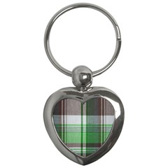Plaid Fabric Texture Brown And Green Key Chains (heart)  by BangZart