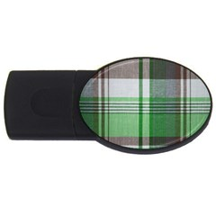 Plaid Fabric Texture Brown And Green Usb Flash Drive Oval (2 Gb) by BangZart