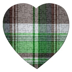 Plaid Fabric Texture Brown And Green Jigsaw Puzzle (heart) by BangZart