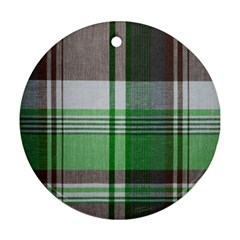 Plaid Fabric Texture Brown And Green Round Ornament (two Sides) by BangZart