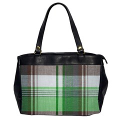 Plaid Fabric Texture Brown And Green Office Handbags (2 Sides)  by BangZart