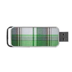 Plaid Fabric Texture Brown And Green Portable Usb Flash (two Sides) by BangZart