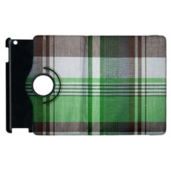 Plaid Fabric Texture Brown And Green Apple Ipad 2 Flip 360 Case by BangZart