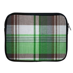 Plaid Fabric Texture Brown And Green Apple Ipad 2/3/4 Zipper Cases by BangZart